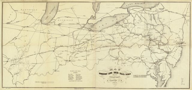 Map of the Sunbury and Erie Rail Road and its connections; P. Jarrett, Eng. Eastern Division, J. L. Randolph, Eng. Western Division, R. Faries, C.E.