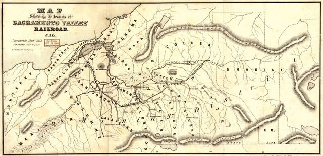 Map showing the location of Sacramento Valley Railroad, Cal. Sacramento, Septr., 1854; T.D. Judah, Chief Engineer.