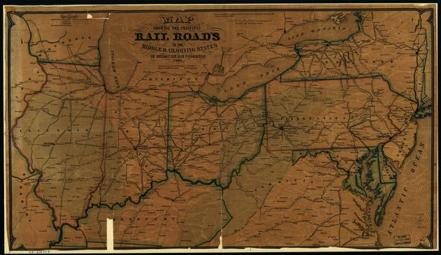 Map showing the principal rail road in the middle & adjoining states, in operation & in progress.