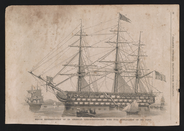 Minute representation of an American line-of-battleship, with full explanation of its parts / Wade del.