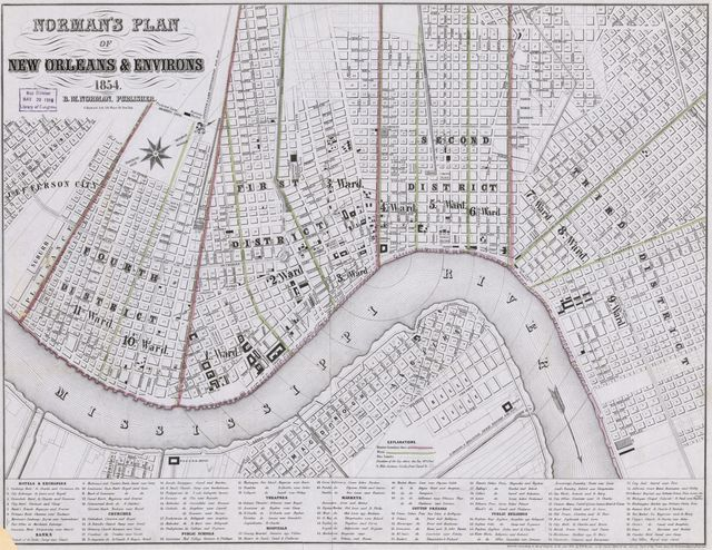Norman's plan of New Orleans & environs, 1854.