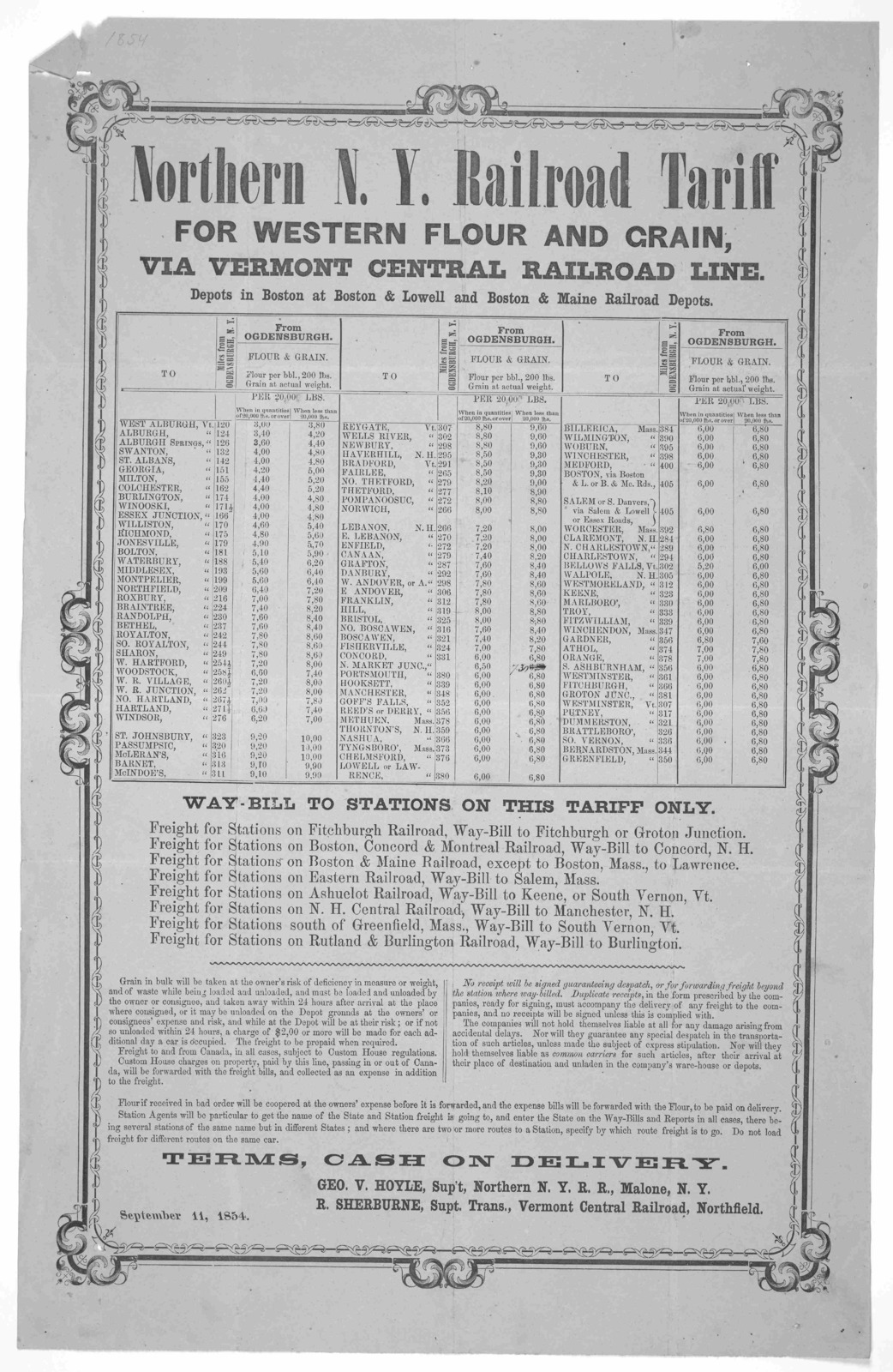 Northern N. Y. railroad tariff for Western flour and grain, via Vermont central railroad line ... September 11, 1854.