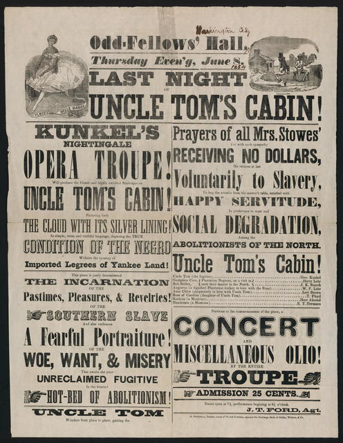 Odd-Fellow's Hall. Thursday Even'g, June 8. Last night Uncle Tom's Cabin!