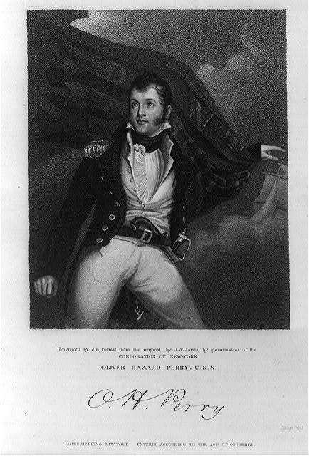 Oliver Hazard Perry U.S.N. / engraved by J.B. Forrest from the original by J.W. Jarvis by the permission of the Corporation of New York ; Miller print.