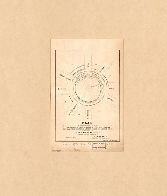 Plat & dimensions of circle on Pennsylvania Avenue at intersection of Pa. Avenue, New Hampshire Avenue, K Street north, 23d Street west : [Washington Circle, Washington D.C.] /