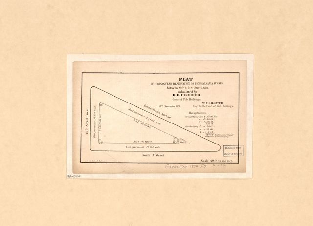 Plat of triangular reservation on Pennsylvania Avenue between 20th & 21st streets west : [Washington D.C.] /