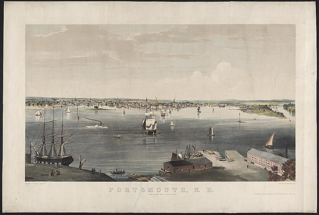 Portsmouth, N.H. from the navy yard, Kittery Me. 1854 / sketched & lithd. by C. Parsons ; printed by Endicott & Co., N.Y.