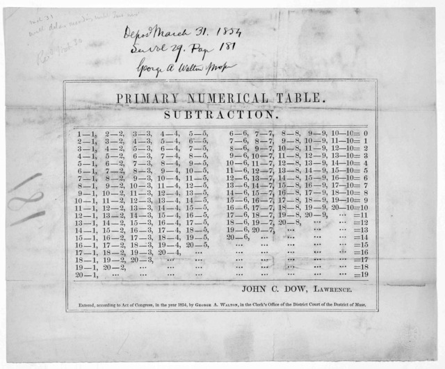 Primary numerical table. Subtraction. John C. Dow, Lawrence [Mass.] [c. 1854].