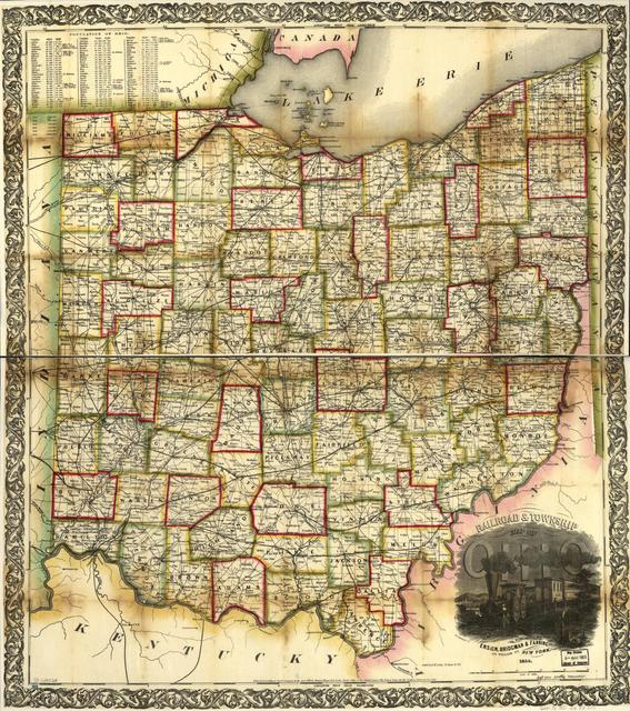 Railroad & township map of Ohio.