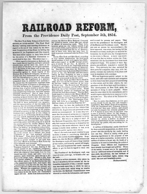 Railroad reform, from the Providence Daily Post, September 5th, 1854.
