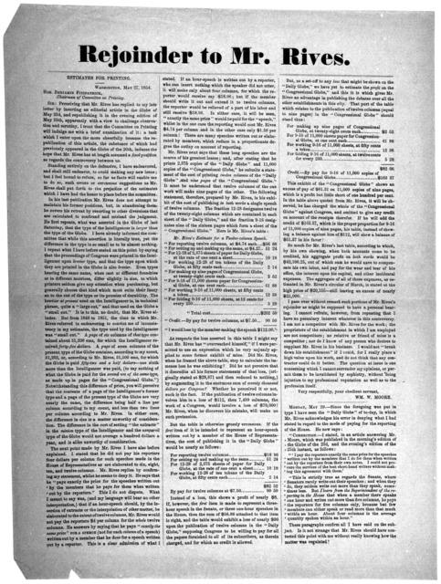 Rejoinder to Mr. Rives. Estimates for printing. Washington, May 27, 1854.