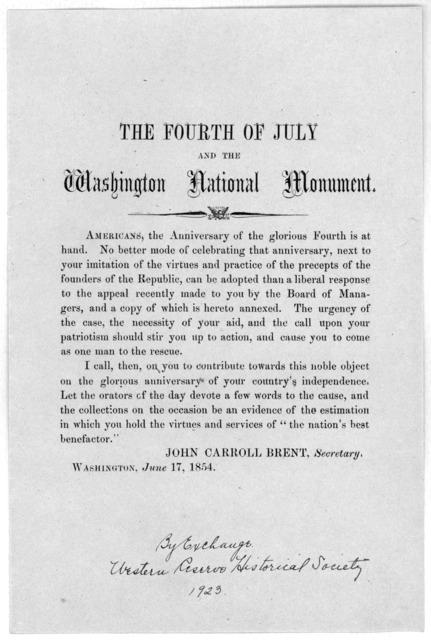 The Fourth of July and the Washington national monument ... Washington, June 17, 1854.