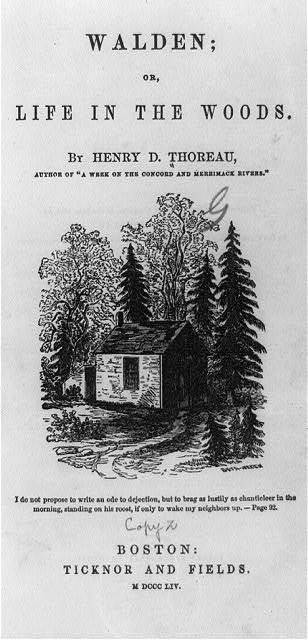 [Title page of Henry D. Thoreau, Walden; or life in the woods, 1854, showing Thoreau's hut at Walden Pond, Massachusetts]