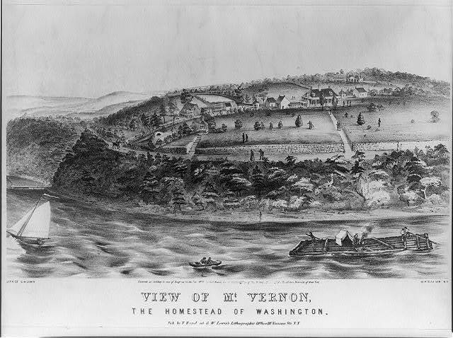 View of Mt. Vernon, the homestead of Washington