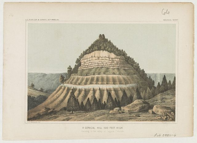 A conical hill 500 ft. high standing in the valley of Laguna, Colorado