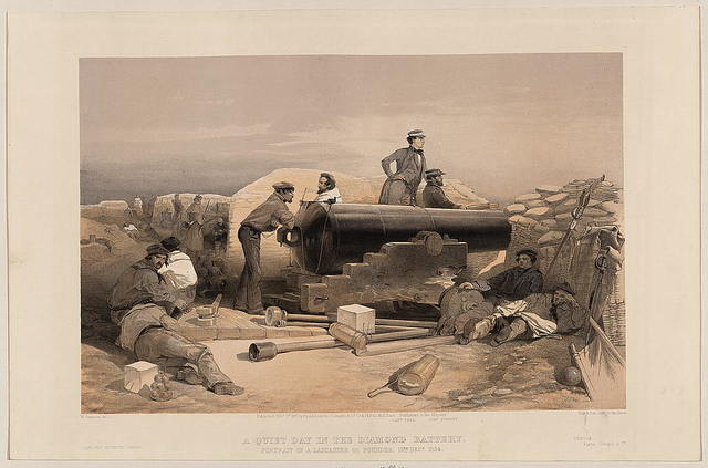 A quiet day in the diamond battery - portrait of a Lancaster 68 pounder, 15th Decr. 1854 / W. Simpson del.