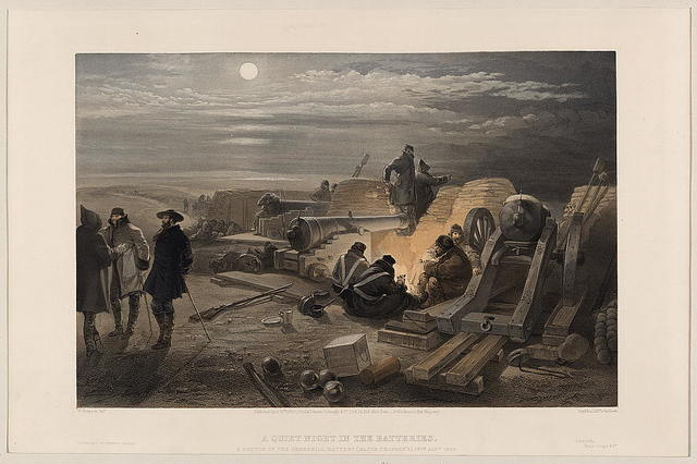 A quiet night in the batteries - a sketch in the Greenhill battery (Major Chapman's), 29th Jany. 1855 / W. Simpson delt.