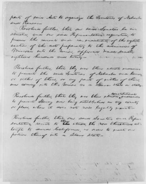 Abraham Lincoln, January 4, 1855  (Draft Resolutions for Illinois General Assembly concerning Repeal of Kansas-Nebraska Act;)