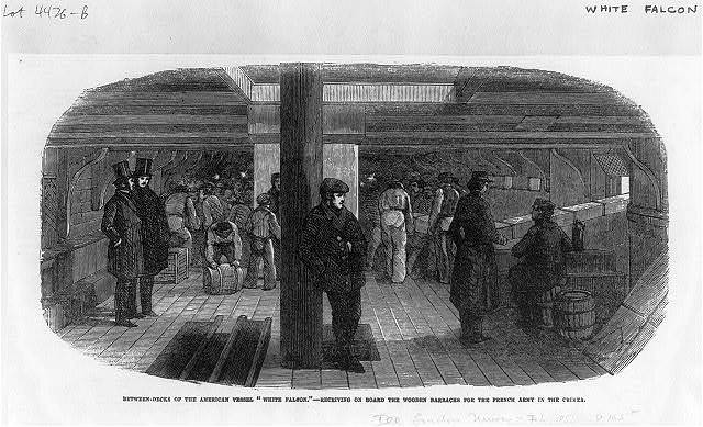 "[Between decks of the American vessel ""White Falcon"" - receiving on board the wooden barracks for the French Army in the Crimea]"