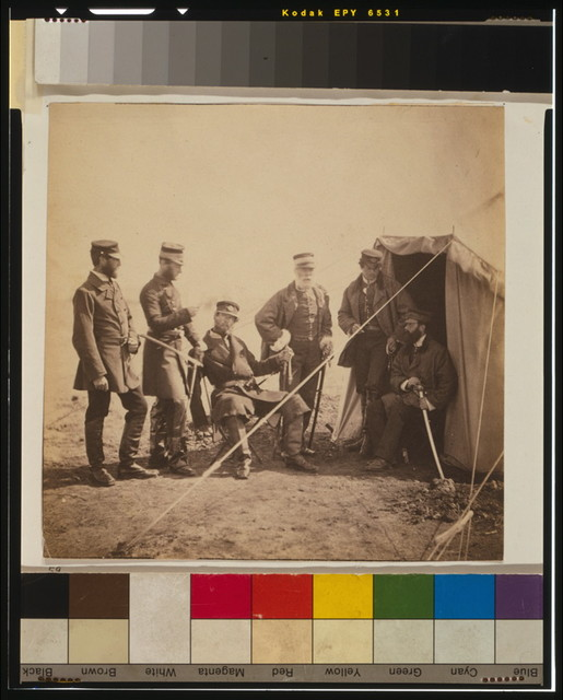 Brigadier McPherson & officers of the 4th Division Captain Higham [i.e., Heigham], 17th Regiment; Captain Earle, Major of Brigade; Captain Croker, 17th Regiment; Captain Swire; Captain McPherson.