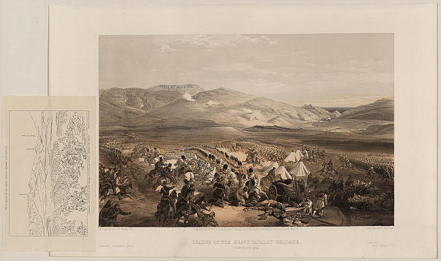 Charge of the heavy cavalry brigade, 25th Octr. 1854 / W. Simpson del. ; E. Walker lith.