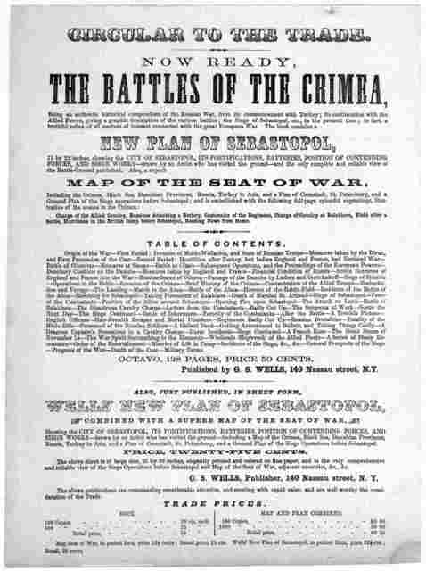 Circular to the trade. Now ready, the battles of the Crimea ... Published by G. S. Wells, 140 Nassau Street. N. Y. [n. d.].