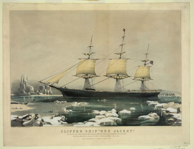"Clipper ship ""Red Jacket"": In the ice off Cape Horn, on her passage from Australia, to Liverpool, August 1854 / drawn by J.B. Smith & Son, Brooklyn, L.I. ; on stone by C. Parsons."