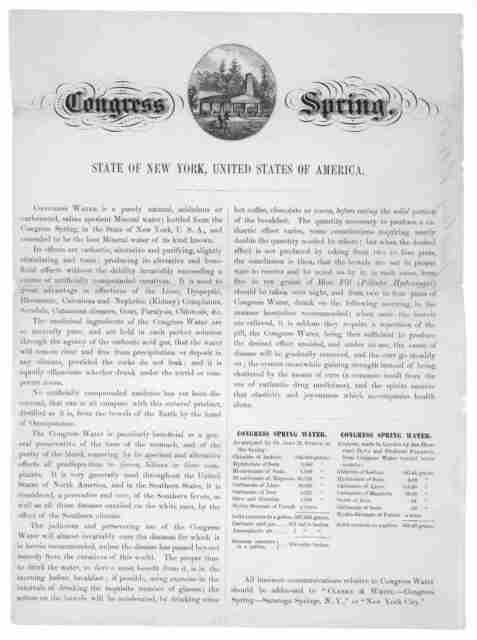 Congress Spring. State of New York, United States of America ... Saratoga Springs. N. Y. [c. 1855].