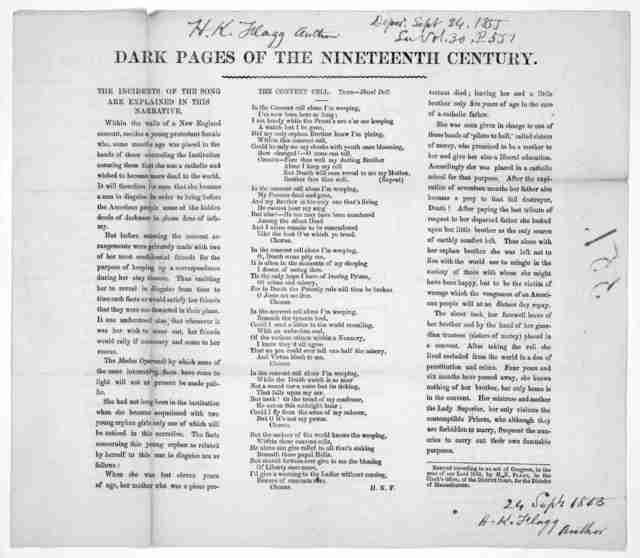 Dark pages of the nineteenth century. The convent cell.- Tune - Hazel Dell. The incidents of the song are explained in this narrative. [n. p. c. 1855].