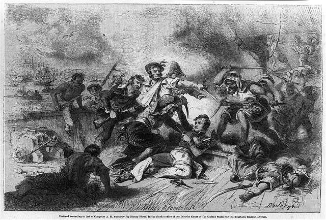 Desperate conflict of American seamen under Decatur, on boarding a Tripolitan corsair / Whitney and Jocelyn sc; Darley, fecit.