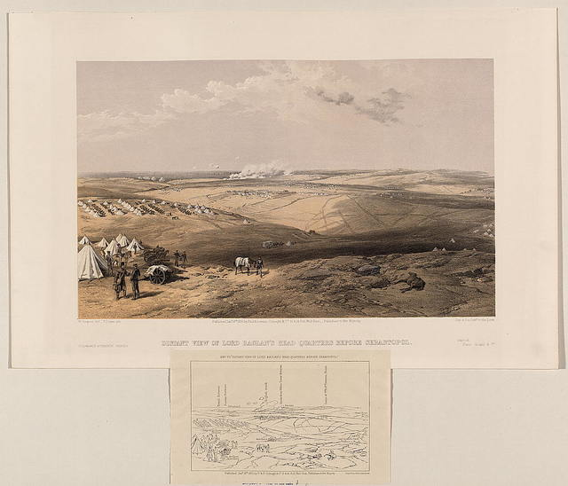 Distant view of Lord Raglan's head quarters before Sebastopol / W. Simpson delt. ; T. Picken lith.