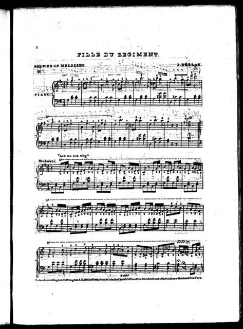 Don Pasquale -- La Bayadere -- Bohemian girl -- Caliph of Bagdad -- Cinderella -- Ernani -- Rigoletto -- Martha -- Fille du regiment -- Belisario -- Linda -- Fra Diavolo