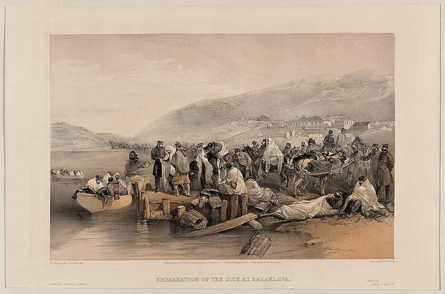Embarkation of the sick at Balaklava / W. Simpson delt. ; E. Morin lith.