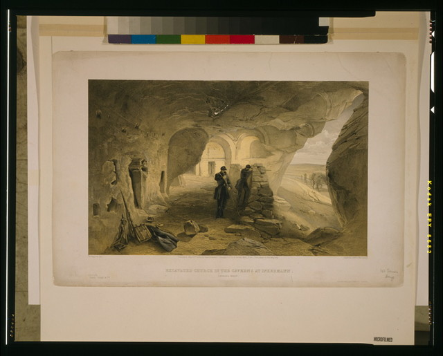 Excavated church in the caverns at Inkermann, looking west / W. Simpson, del. ; Day & Son, Lithrs. to the Queen.