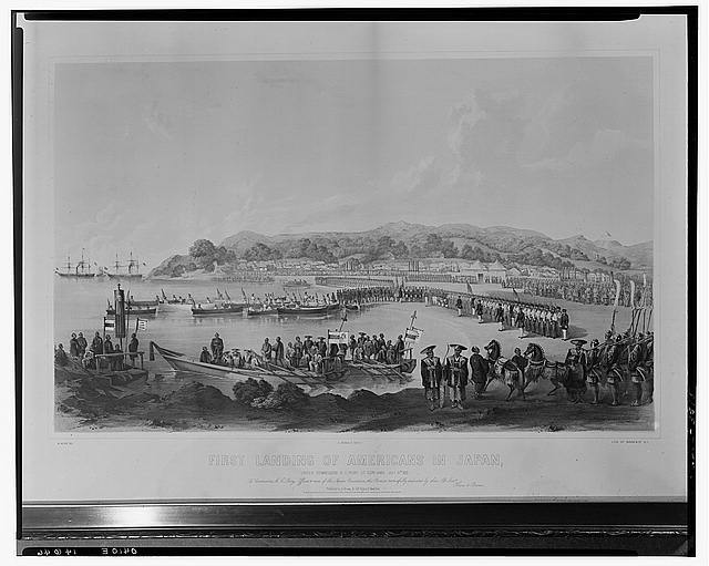 First landing of Americans in Japan, under Commodore M.C. Perry at Gore-Hama July 14th 1853 / W. Heine del. ; E. Brown Jr. direxit. ; lith. of Sarony & Co. N.Y.