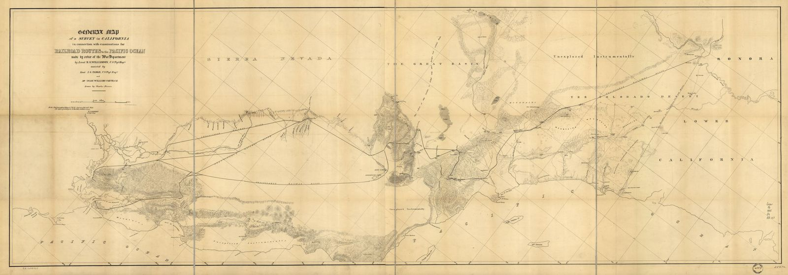 General map of a survey in California : in connection with examinations for railroad routes to the Pacific Ocean /