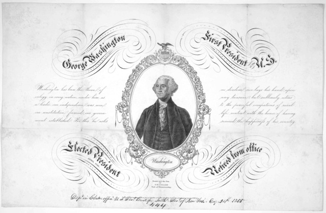 George Washington first president of the U. S. Drawn with the pen by P. M. Collins. Prof. of penmanship. [New York? c. 1855].