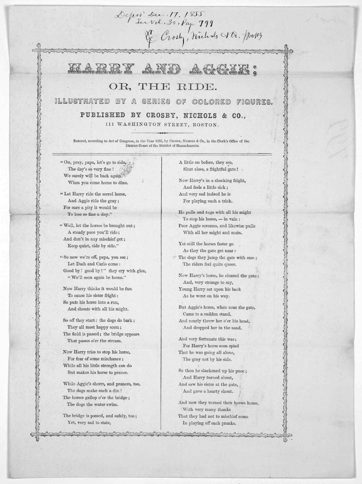 Harry and Aggie; or, the ride ... Published by Crosby, Nichols & Co. Boston. [c. 1855].