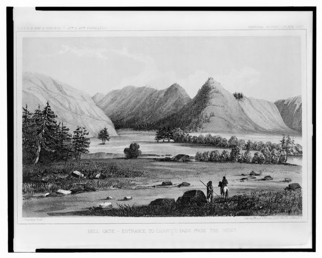 Hell Gate, entrance to Cadotte's Pass from the west / Stanley, Del. ; Sarony, Major & Knapp, Lith.
