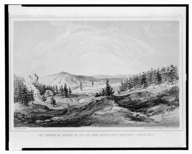 Hot springs at source of Lou Lou Fork, Bitter Root Mountains, looking west / Stanley, Del. ; Sarony, Major & Knapp, Liths.