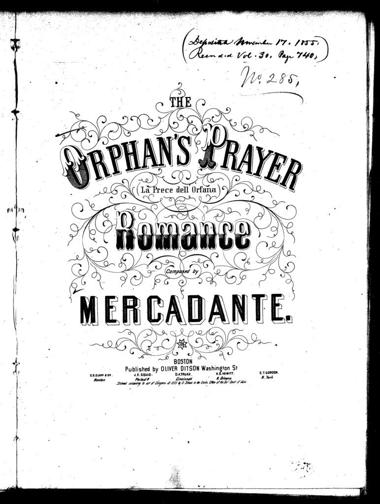 La  prece dell orfana = The orphan's prayer, romance