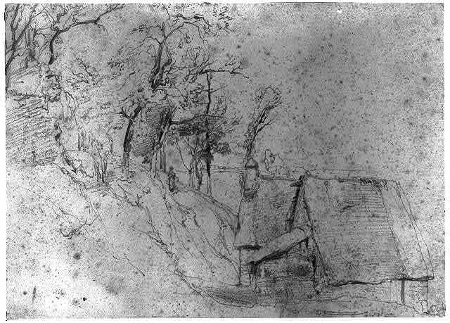 [Landscape with thatched hut]