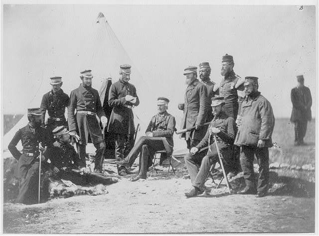 Lieutenant General Pennefather, & Captain Wing, Captain Layard, Captain Ellison, Colonel Wilbraham, Colonel Percy Herbert, Major Thackwell & Dr. Wood, officers of his staff