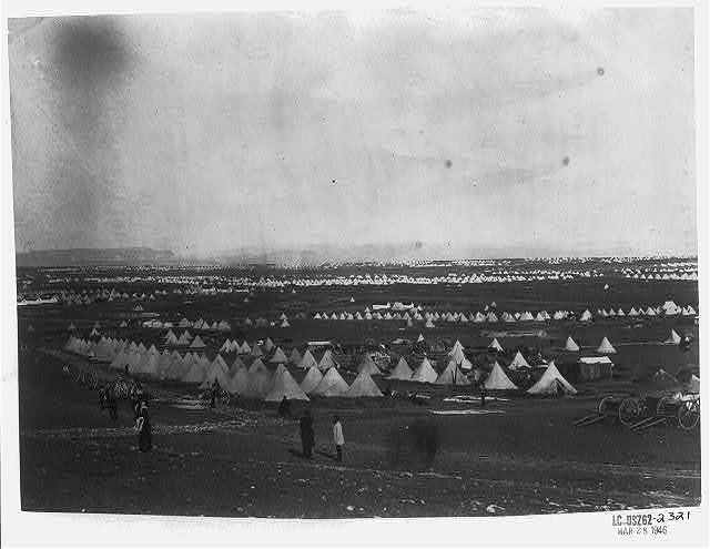 Looking towards Mackenzie's Heights, tents of the 33rd Regiment in the foreground