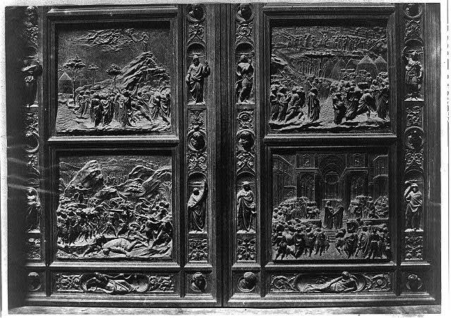 "[Lorenzo Ghiberti's ""Gates of Paradise"" bronze doors depicting scenes from the Old Testament, Baptistry of St. John, Florence]"