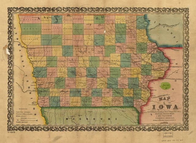 Map of Iowa exhibiting the townships, cities, villages post offices, railroads, common roads & other improvements.