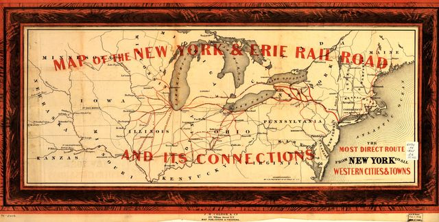 Map of New York & Erie Rail Road and its connections; the most direct route from New York to all western cities and towns.
