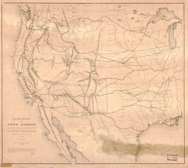 Map of routes for a Pacific railroad /