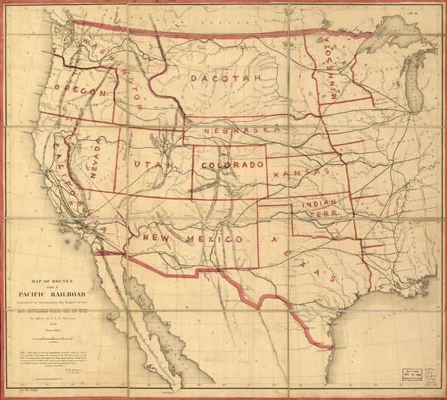 Map of routes for a Pacific railroad, compiled to accompany the report of the Hon. Jefferson Davis, sec. of war.