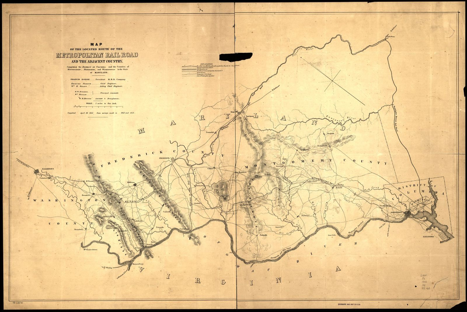 Map of the located route of the Metropolitan Rail Road and the adjacent country comprising the District of Columbia and the counties of Montgomery, Frederick, and Washington in the state of Maryland, Francis Dodge president M.R.R. Company, Edmund French, chief engineer, W. R. Hutton draughtsman, completed April 30, 1855 from surveys made in 1853 and 1854.